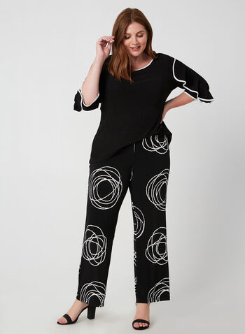Compli K - Abstract Print Wide Leg Pant, Black, hi-res,  canada, wide leg pant, pants, pull-on, elastic, abstract print, print, circle print, two-toned, fall 2019, winter 2019