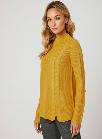 Knit Mock Neck Sweater, Yellow, hi-res