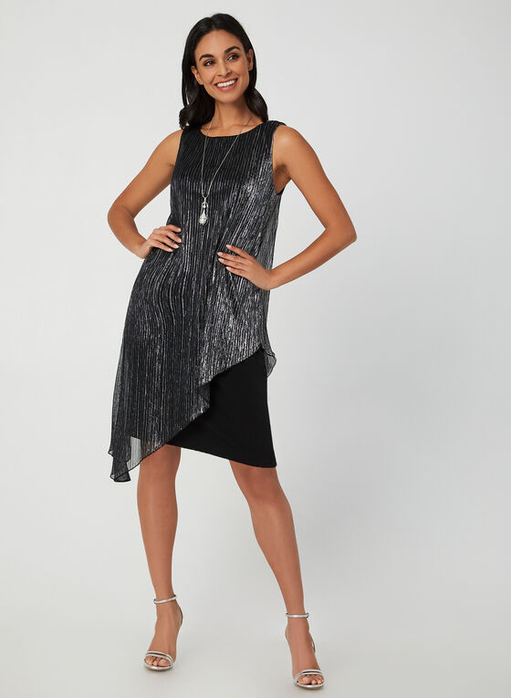 Asymmetrical Metallic Dress, Silver