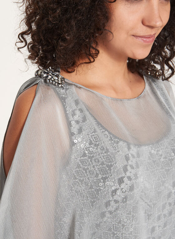 Crochet Knit Dress with Poncho, Silver, hi-res
