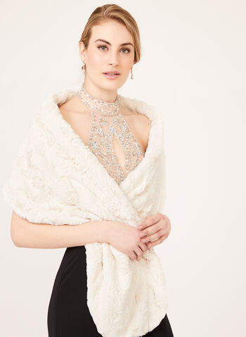 Crushed Faux Fur Stole, Off White, hi-res