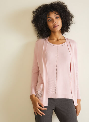 Cardigan With Integrated Tank, Pink,  fooler, cardigan, tank, knit, studs, ribbed knit, open front, fall winter 2020