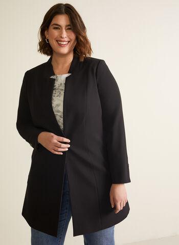 Veste à col cranté inversé, Noir,  veste, manches longues, un bouton, poches, automne hiver 2020