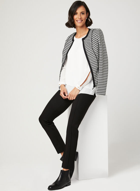 Houndstooth Print Structured Jacket, Black, hi-res