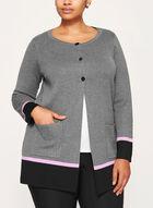 Contrast Knit Cardigan , Grey, hi-res