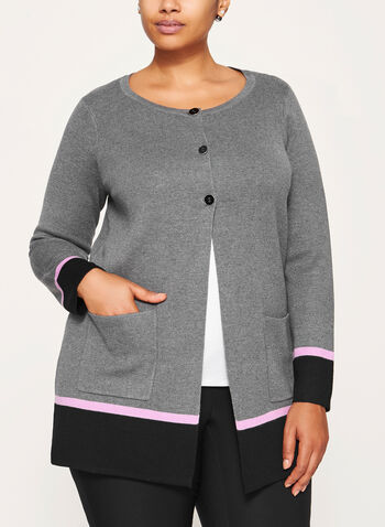 Contrast Knit Cardigan , Grey, hi-res