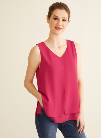 V-Neck Crepe Blouse, Pink,  blouse, sleeveless, v neck, crepe, spring summer 2020