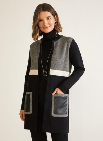 Cardigan à couleurs blocs et similicuir, Noir,  automne hiver 2020, cardigan, tricot, blocs de couleurs, manches longues, similicuir, faux cuir, cuir végane, poches