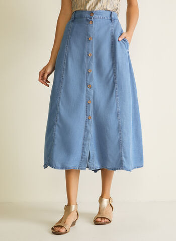 Blossom - Button Front Tencel Midi Skirt, Blue,  skirt, midi, tencel, pockets, buttons, spring summer 2020