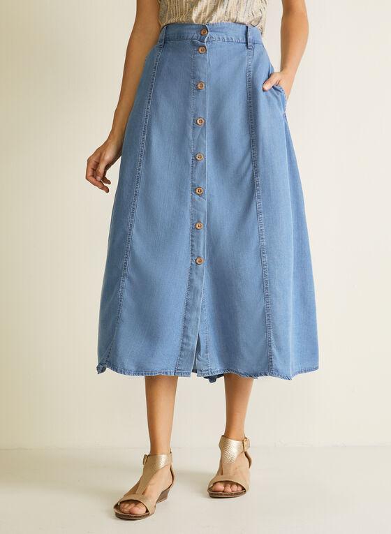 Blossom - Button Front Tencel Midi Skirt, Blue