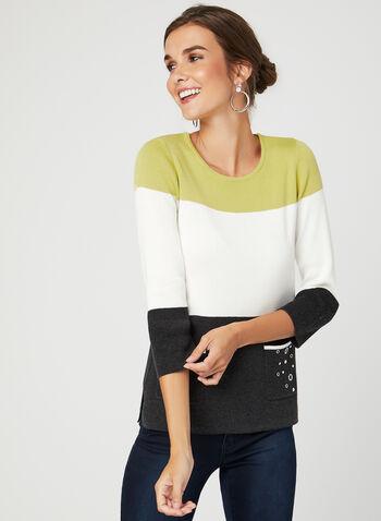 Colour Block Knit Sweater, Grey, hi-res