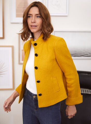 Veste boutonnée en laine bouillie, Jaune,  automne hiver 2020, veste, boutons, laine, manches longues