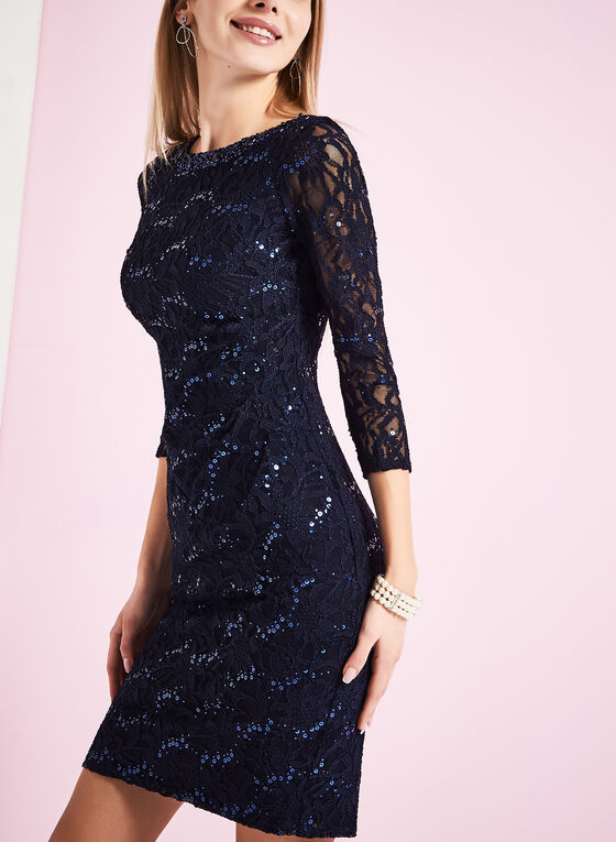3/4 Sleeve Sequin Lace Dress, Blue, hi-res