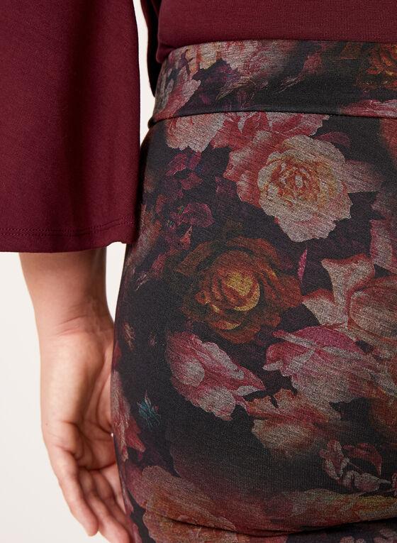 Pantalon pull-on fleuri à jambe droite, Noir, hi-res