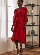Dotted Chiffon Faux Wrap Dress, Red