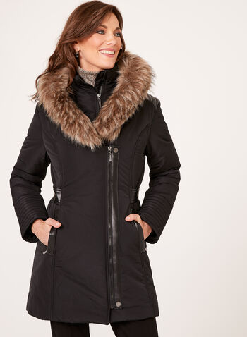 Faux Leather Detail Coat, Black, hi-res