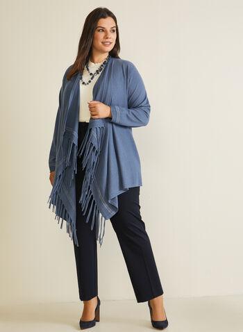Fringe Detail Poncho Cardigan, Blue,  cardigan, poncho, open front, drape, fringe, glitter, fall winter 2020
