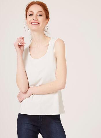 Débardeur à col rond en jersey extensible, Blanc cassé, hi-res
