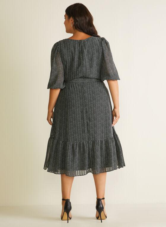 Dotted Print Balloon Sleeve Dress, Black