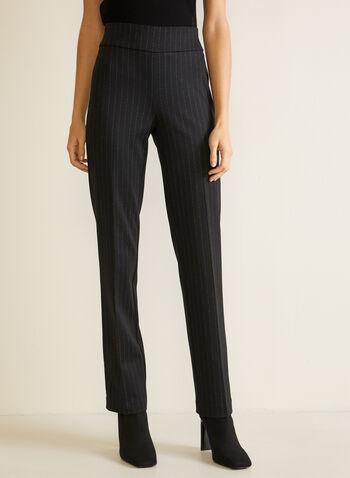 Straight Leg Pull-On Pants, Black,  fall winter 2020, pants, pull-on, elastic waist, straight leg, striped, ponte di roma