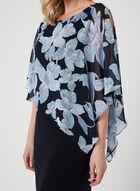 Floral Print Poncho Dress, Blue, hi-res