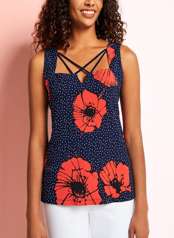 Floral Dot Print Lace Effect Top, Blue, hi-res