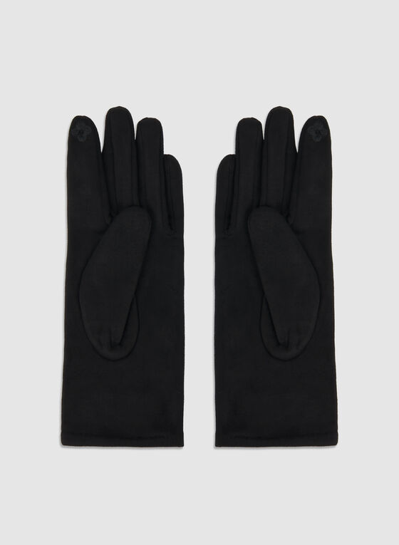 Faux Suede Gloves, Black