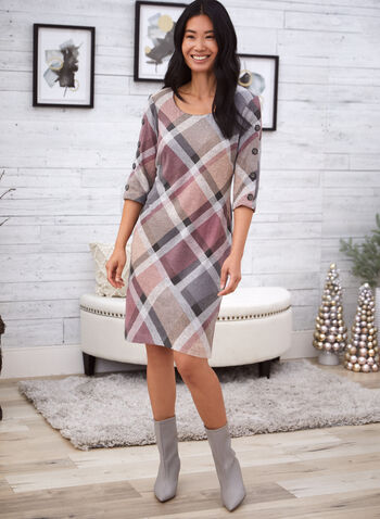 Plaid Knit Dress, Pink,  fall winter 2020, gift, holiday, holiday 2020, dress, round neck, ¾ sleeves, buttons, checkered, plaid