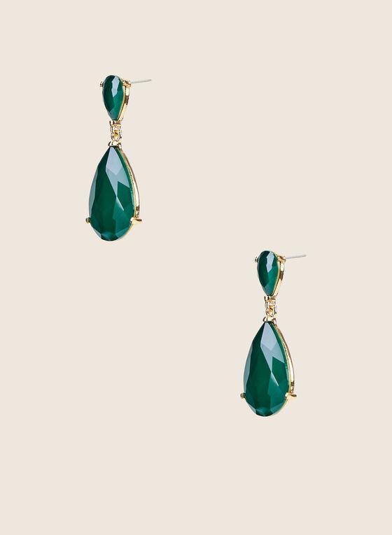 Teardrop Pendant Earrings, Green