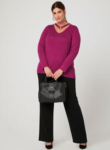 Elena Wang - Pull en tricot et détail anneau, Rose, hi-res