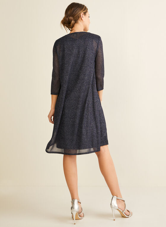 Glitter Dress & Cardigan Set, Blue