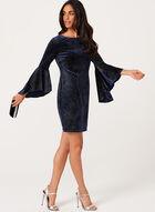 Shimmer Velvet Sheath Dress, Blue, hi-res