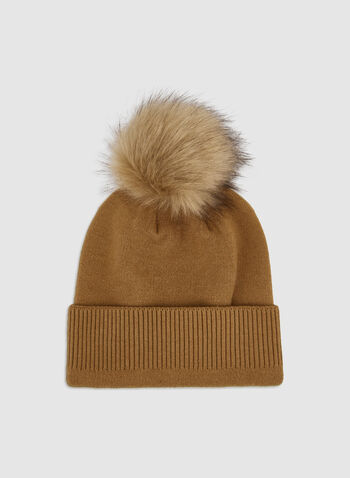Faux Fur Knit Hat, Brown, hi-res,  pompom, knit, tuque, hat, faux fur, acrylic, fall 2019, winter 2019