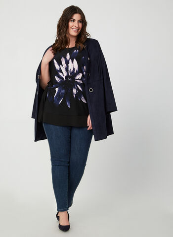 Floral Print Poncho Top, Black,  Canada, top, poncho, floral print, jersey, fall 2019, winter 2019