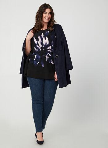 Blouse poncho fleurie, Noir, hi-res,  blouse, poncho, fleurs, jersey, crêpe, automne hiver 2019