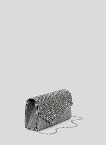 Rhinestone Detail Envelope Clutch, Grey, hi-res