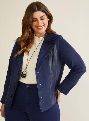 Blazer en faux cuir suédé, Bleu,  blazer, faux cuir suédé, manches longues, col cranté, zip, automne hiver 2020