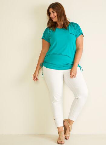 T-shirt à détails satinés et liens élastiqués, Vert,  t-shirt, manches courtes, col dégagé, satin, jersey, liens, printemps été 2020