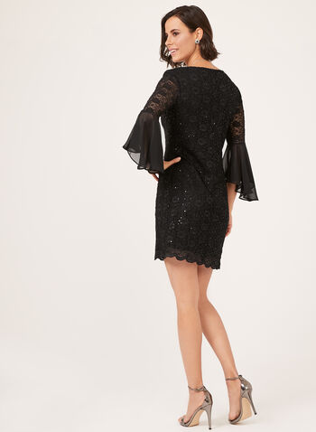 Sequin Lace Butterfly Sleeve Dress, Black, hi-res