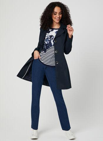 Anne Klein - Notch Collar Coat, Blue,  spring 2019