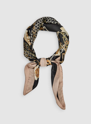 Chain Print Scarf, Black,  silky, square, fall 2019, winter 2019