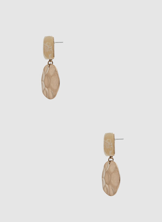 Boucles d'oreilles à effet martelé, Or, hi-res