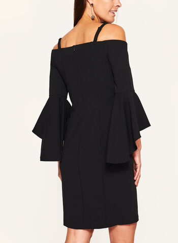 Cold Shoulder Bell Sleeve Dress, Black, hi-res
