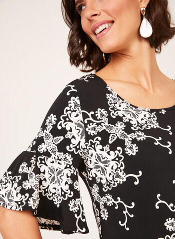 Puff Print Bell Sleeve Dress, Black, hi-res
