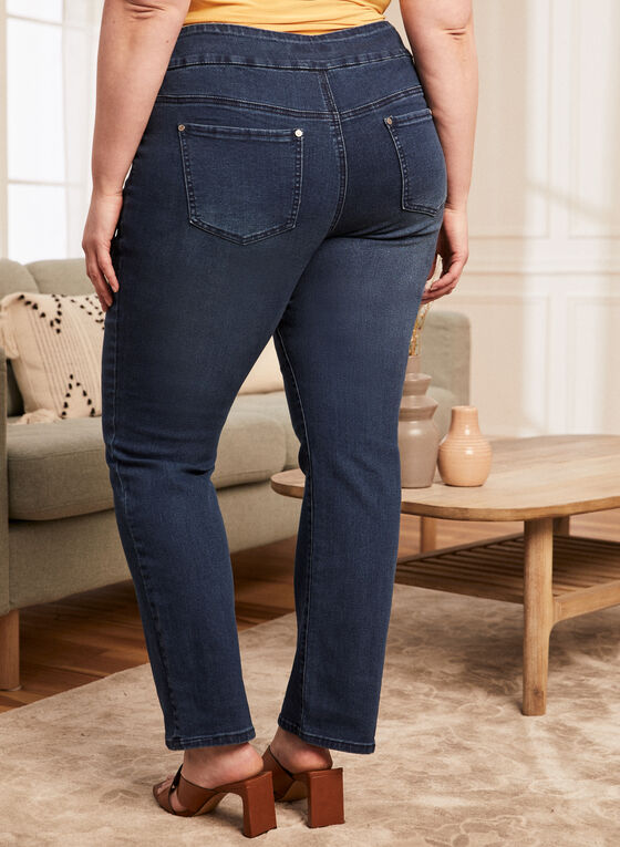 Pull-On Straight Leg Jeans, Blue