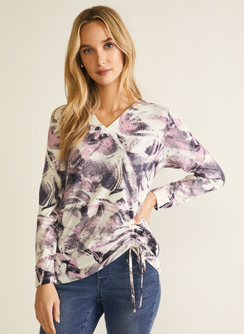 Abstract Print Long Sleeve Tee, Red,  top, long sleeves, v-neck, abstract print, drawstring, fall winter 2020