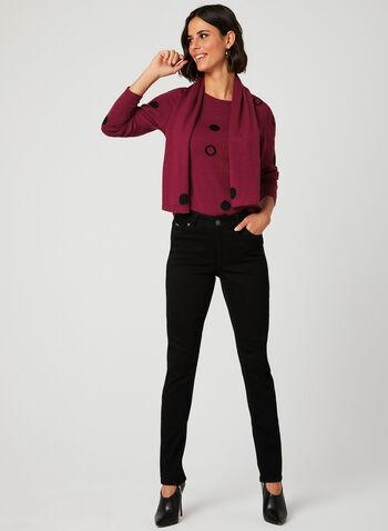 Vex - Dot Print Sweater & Scarf Set, Red, hi-res