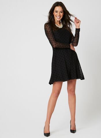 Nina Leonard - Polka Dot Print Dress, Black, hi-res