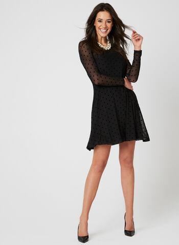 Nina Leonard - Robe en jersey à pois, Noir, hi-res