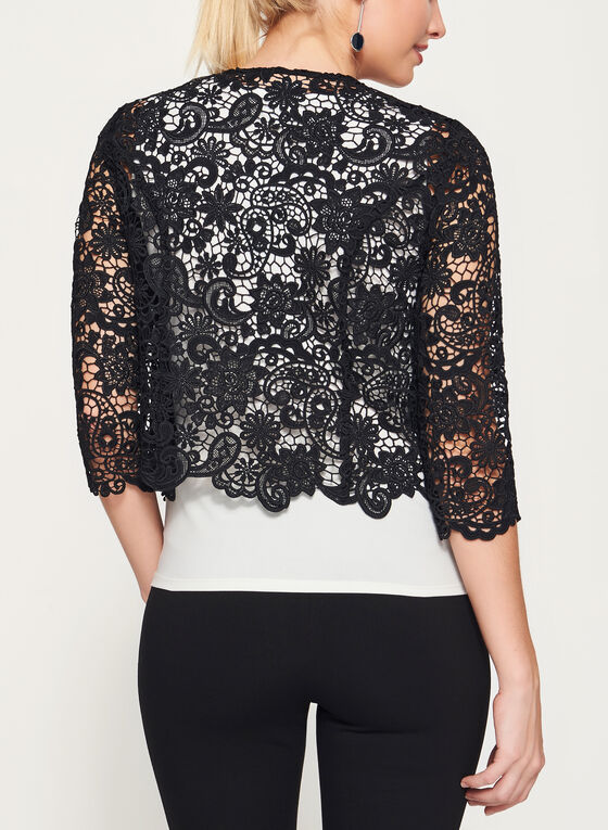 Floral Lace Cropped Blazer, Black, hi-res